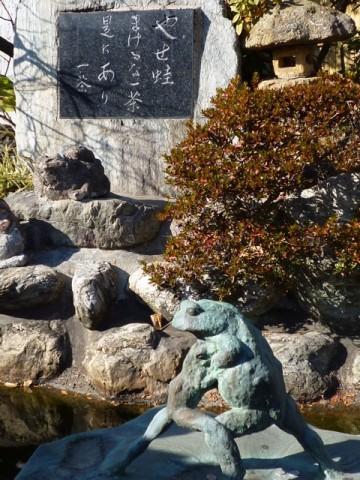 蛙合戦の地:一茶の句碑がある炎天寺